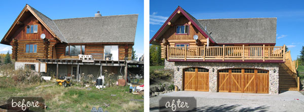 Log Home Exterior Before And After