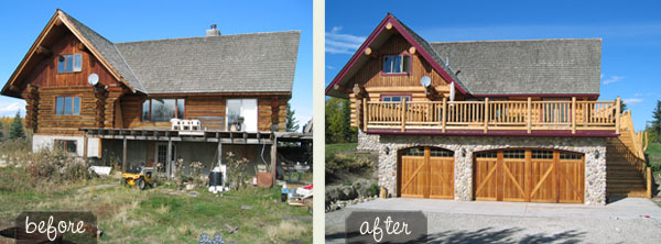 log home exterior beforeand after