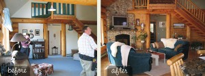 log home living room before after