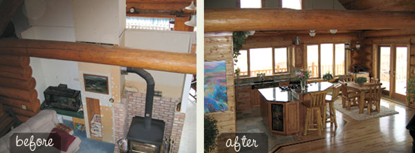 log home loft before and after