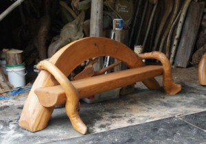 gnarly wooden bench